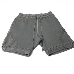 2020 выстиранные серые спортивные шорты проблемный Бегун контрастная строчка в коричневой хип хоп уличной одежде расслабленный