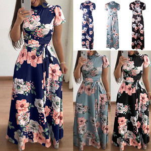 S-XL Elegante Mulheres Robe Verão 2018 Floral Impresso Vestido Maxi Moda Sexy Boho Caixilhos Vestido Apertar Cintura Vestido Longo Vestidos