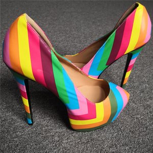 2019 Big Size 47 Colorful Rainbow Heeled Shoes Woman Sexy High Heels Shoes Women Party Wedding Pumps