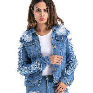 Yırtık Kot Ceket Kadınlar Giyim Sonbahar Bayanlar Uzun Kollu Dış Giyim Kadın Jaqueta Jeans Feminina Veste Femme