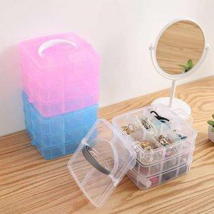 Armazenamento caixa de plástico portátil destacável caixa de armazenamento de jóias três camadas caixa de armazenamento removível cosmética transparente