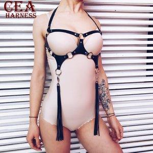 CEA. Biancheria del cuoio sexy cablaggio Bdsm Collare Bondage Erotici pastello Goth Pole Dance Fantazi Seks cuoio sexy Harness corpo