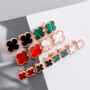 высокое качество 925 серебряные серьги для женщин Роуз Позолоченные агата клевера серьги шпилька моды ювелирных аксессуаров
