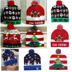 De LED se encienden hicieron punto los sombreros Pom bola de Navidad Gorros Casquillo de esquí de Santa muñeco de nieve reno Árbol Hat para adultos HH9-2463 niños