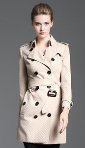 Hot sales! women fashion England long style winter trench coat brand designer small check slim fit trench for women size S-XXL B8358F340