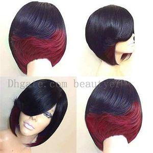 Los hombres y las mujeres de la venta caliente de moda realista natural de alta temperatura corta de seda recta pelucas de pelo rojo púrpura y verde