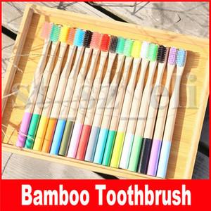 Regenbogen Bambus Zahnbürste 17 Farben Runder Bambusgriff Schwarze Borste Erwachsene Tandenborstel Holzgriff Kohlenstoffarme Zahnbürste