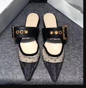 Designer Women Tulle Flat Sandals Embroidered Slingba cks Flats Slippers Slides Polka Dots Lady Casual Shoes Sandalias ck