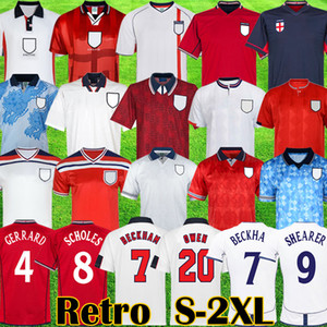 Retro clássico 1982 1994 1998 2002 camisas de futebol Campeonato do mundo Inglaterra casa longe kits camisa de futebol BECKHAM GASCOIGNE OWEN GERRARD Retro S 2XL