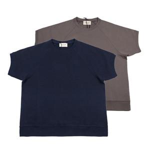 Мужские футболки сплошной цвет сгущает свитер ткань с коротким рукавом футболка мода High Street повседневные рубашки круглый вырез S-L