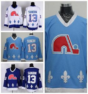 Quebec Nordiques 13 Mats Sundin Hockey su ghiaccio Maglie Home Sport Navy Blue Bianco strada lontano migliore qualità cucita sulla vendita