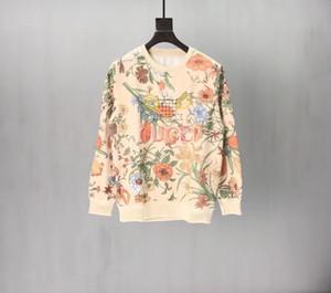 Col rond féminin Sweat coton lâche Sweat Sweater imprimé floral brodé Couple Tennis Racket Tops 878L