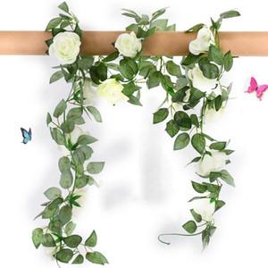 Seta rose fiori artificiali vite con falso Green Leaves casa per la decorazione di nozze fai da te appeso Garland