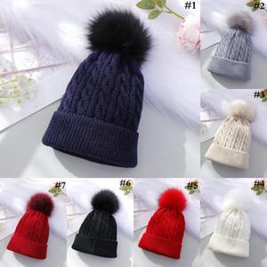 Fil Pom Pom Beanie 7 Couleurs Hiver Chaud Crochet Beanie Cap Knit crâne chapeaux 30 pcs OOA7420-5