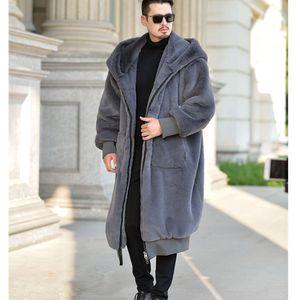 Mens inverno casacos de pele com capuz Homens Mulheres Faux Fur Long Coat Quente Zipper Casacos de couro Casual Jaquetões Robe