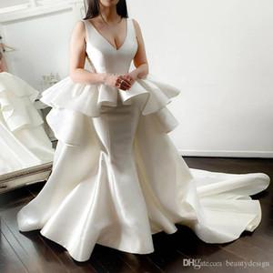 Elegante Tamanho Ivory Sereia Prom Dresses 2020 Profunda V Neck vestido de noite Com destacável Train Satin Além disso formal do partido vestido BC3982