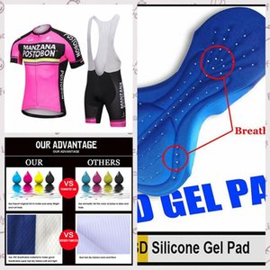 estate squadra Manzana Postobon Ciclismo Maglia Salopette Imposta corsa manica corta bicicletta vestiti asciutto rapido respirabile sportwear A61122
