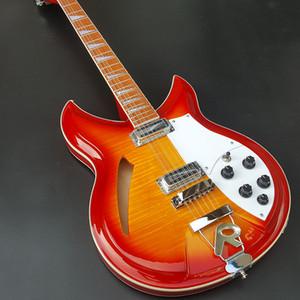 Высокое качество 12 строка Ricken 360 электрическая гитара, полосы двойные пламени, красное дерево Накладка с лаком блеска, свободная перевозка груза