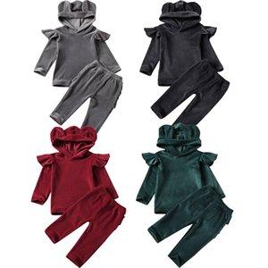 2pcs set Infant Baby Kids Girls Boys Clothes Sets Velvet Solid 3D Ears Hooded Long Sleeve Tops+Pants Tracksuit