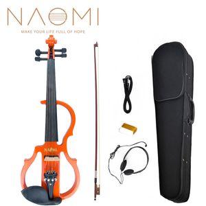 NAOMI Full Size 4/4 Madeira Maciça Silencioso Elétrico Violino Acessórios Ébano Violino Maple Fingerboard Pegs Queixo Resto de Madeira SET