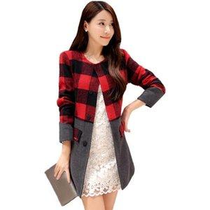 Coats 2018 New Winter Jacket Women Trench Coat Plaid Women's Temperament Slim Thin Long Woolen Coat Tide Clothing Vestidos YL117