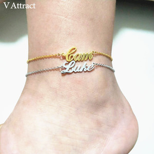 V Attract Personalized Name Anklet Bracelet Best Friends Beach Jewelry Graduation Gift Rose Gold Custom Name Foot Tornozeleira SH190924