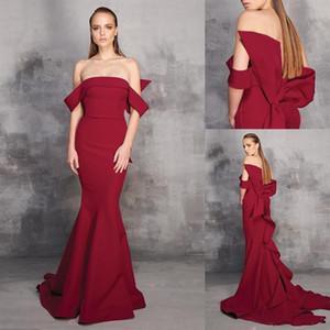 ELAGent Темно-красное русалочное платье выпускного вечера платье ругаемого плеча атловый лук плюс размер платье для вечеринки развертки поезд формальное платье Ogstuff халаты де SOSIRÉ