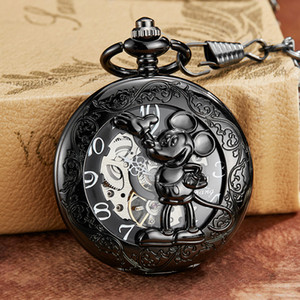 Black Mouse Mechanical Pocket Watch with Chain Engraved Hollow Case Animal Hand Winding Clock Men Bronze Gold Sliver Fob Watches