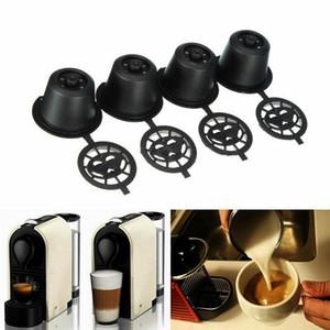 Hot 4x nachfüllbare wiederverwendbare Kaffeekapseln für Nespresso-Maschinen Löffel Kunststoff + Edelstahl Kaffeefilter