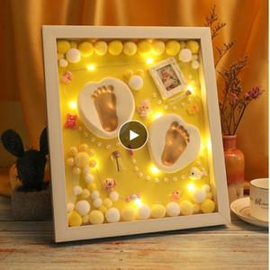Lembrança do bebê 3D Set Handprint pegada suave argila Photo Frame recém-nascido Exquisite ornamento Detalhes Imprimir lembrança Baby Care