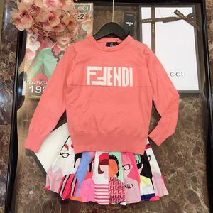 2019 большие дети девушки осень комплекты одежды новый шаблон корейский досуг печать в детей катамит свитер костюм комплект одежды 0818