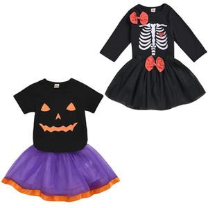 kids clothes girls Halloween outfits children Skull Pumpkin print Tops+lace Mesh skirts 2pcs set 2020 summer baby Clothing Sets Z1144