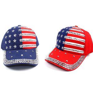 Strass beiläufige gestreifte Cowboyhut amerikanische Flagge Baseballmütze 3 Farben Männer Frauen Fashion Caps Outdoor Sports Snapback Sun Cap BH1941 ZX