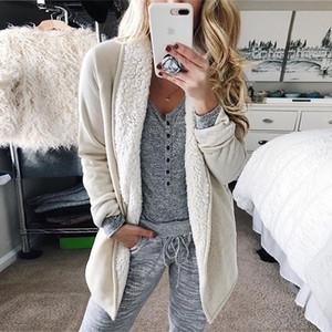 Duzeala Blanc Blend Manteau Fluffy manteau d'hiver Veste Cardigan Automne Femme