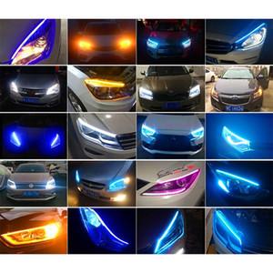 2X Сверхтонкие Автомобили DRL светодиодные дневные ходовые огни белого сигнал поворот Желтого Руководство Strip для сборки фар груза падения