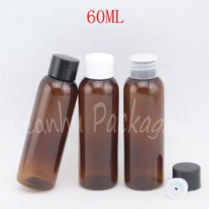Garrafa 60ml Brown Rodada Plastic Com Screw Cap, 60cc de água / Toner / Lotion Garrafa, Esvaziar recipiente cosmético (50 PC / Lot)