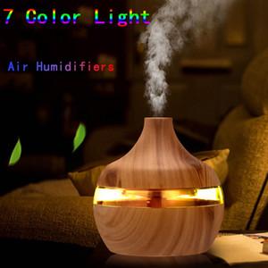 300ml elettrico umidificatore essenziale Aroma diffusore dell'olio ad ultrasuoni Grana del legno Umidificatori USB Mini Mist LED Maker per Office Home