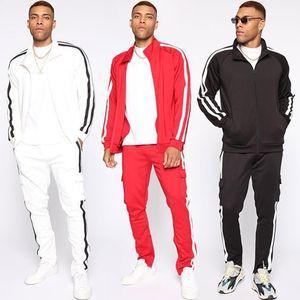 Mens Sportswear Moda Striped Cardigan + Sports Calças Suit Sports Mens Casual Collar fatos de treino Training Jacket