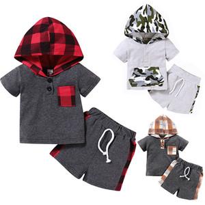 crianças roupas meninas meninos roupas crianças lattice camuflagem hoodies tops + shorts 2 pcs / set 2020 verão bebê xadrez conjunto conjuntos z0920