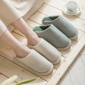 New Thick Warm Cotton Slippers Winter Plus Velvet Slides Soft Slippers Ladies Indoor Non-slip Floor Flat Shoes Women Couples