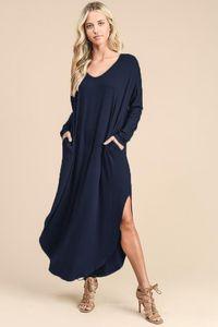 19SS Femmes col en V robe solide printemps Nouveau robes de boho à manches longues à manches longues automne vêtements occasionnels