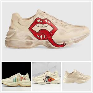 Rhyton Chaussures de sport de luxe classique Lips Do-old Designer apple Homme Femme dans le monde entier papa Dorky Baskets mode Chaussures en cuir boîte originale