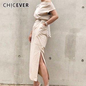 Chicever 2018 Summer Dress For Women Sexy Slash Neck Big Pocket Waist Lace Up Hem Split Slim Dresses Female Korean Fashion Tide MX19070401
