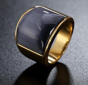 6 Color Men Women Cat Eye Stone Semi-Precious Signet Ring in Gold Tone Stainless Steel for Male Jewelry Anillos Accessories