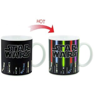 Estrella El sable de luz revela un cambio de color en la taza de café Sensible Morphing Tazas Sensor de temperatura Regalo de cumpleaños