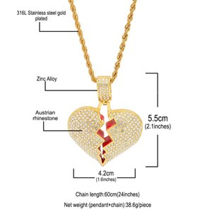 Broken XL1C143 Men's Love Necklaces Heart Gold Hop Women Love Pendant Bling Silver Twisted Chain For Rhinestone Charm Crystal Jewelry H Taog