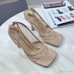 HOT 2020 spring and summer new women's STRETCH PUMPS mesh high heels sandals luxury designer exquisite chain fashion classic with box