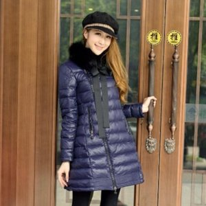 Winter 2018 parka Street fashion women coat Neckline with bow Warm fur collar Skirt down jacket manteau femme purple clothes