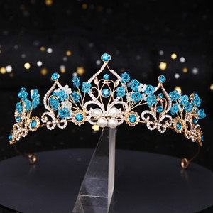 A tiara New Crown Princess Flower Blue Pearl cristal nupcial Diadema casamento cabelo Headpiece Jewelry Acessórios de cabelo do casamento