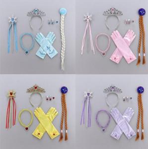 Дети Tiara Hairband Набор перчатка Корона Magic Wand Braid ожерелье Кольцо Eardrop Наборы лед и снег, повязка для волос Аксессуары GGA2890